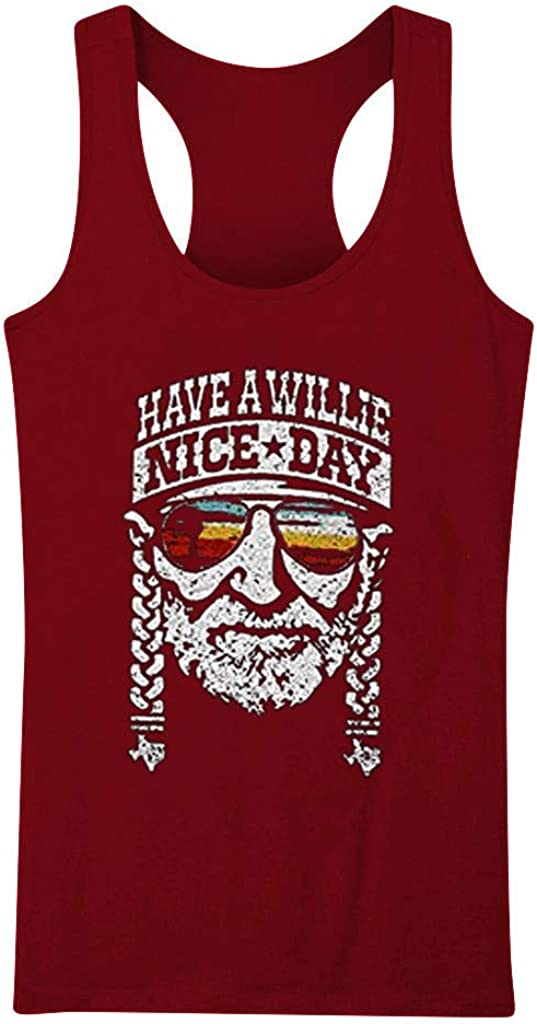 Weginte Women T Shirts Casual Summer Sleeveless Letter Graphic Printed Loose Plus Size Tank Tops Tees Blouses T-Shirt