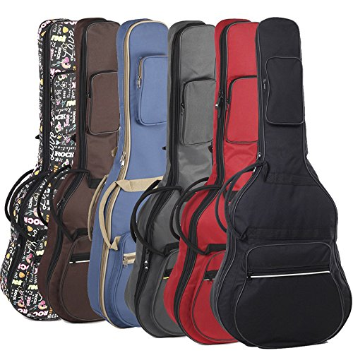 HOT SEAL 10MM Sponge Padding Waterproof Durable Colorful Conventional 38/39 Inch Guitar Case Bag with Storage (38/39 in, Red) (Guitar Red Case)