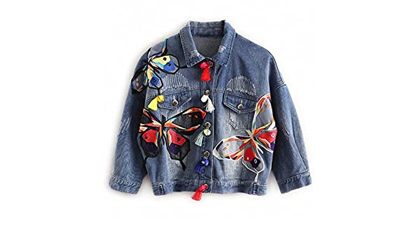 Colorful Butterfly Embroidery Ladies Jean Jackets Patch Designs Womens Denim Coats with Tassel Short Chaquetas Mujer Slim Jacket Blue XL at Amazon Womens ...