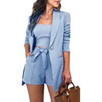 Sweetmini Conjunto de traje de pantalones cortos de una camiseta de botón de 3 piezas para mujer
