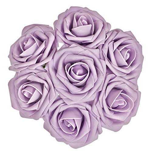 Ling's moment Artificial Flowers 50pcs Lilac Real Looking Artificial Roses w/Stem for Wedding Bouquets Centerpieces Party Baby Shower Decorations DIY