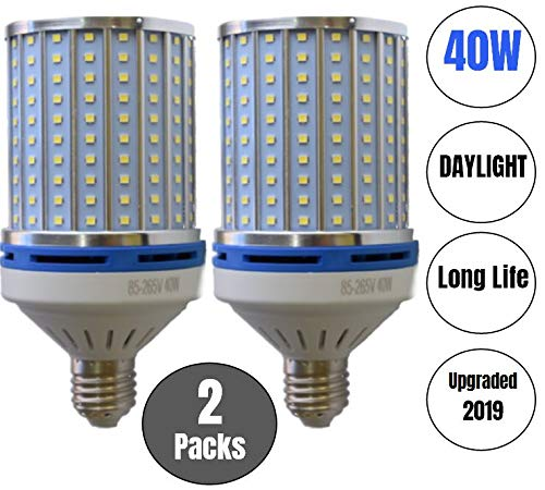 40W LED Corn Light Bulb Daylight 6000k Super Bright 400 Watt equiv. 2 Packs. Large Light Bulbs E26/E27 Daylight White Barn, Workshop,Warehouse,Garage,Factory,Porch,Backyard BestCircle