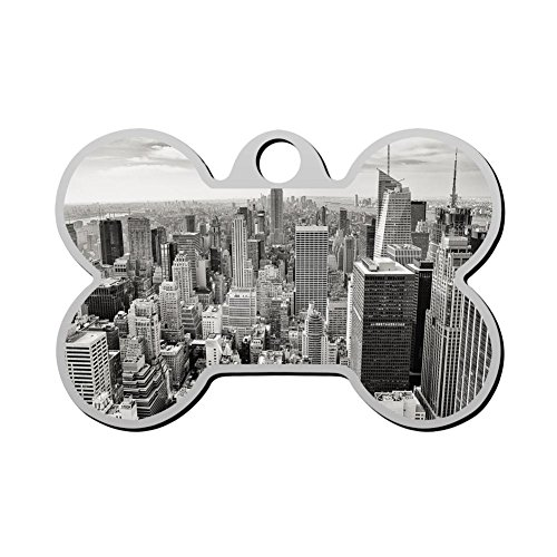 HAOPENGYOU Custom Humor Funny Pet ID Name Tag Empire State Building Personalized Front and Back Bone Shape Dog Tags & Cat ()