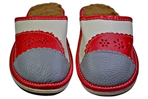 Piel De Reno, Pantuflas Interiores De Invierno Cálido Para Mujer Rojo