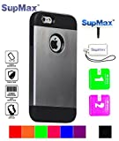 iPhone 5 Case,iPhone 5s Case,SupMax™ *Armor Defender* *TPU+PC* High Impact Resistant Dual Layer Dirtproof Scratchproof Shockproof Skidproof [Brand Gifts] for Apple iPhone 5/5s (Silver gray)