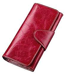 Susanm Womens Bifold Wallet Wax Genuine Leather Wallets Grass Green Sell Like Hot Cakes