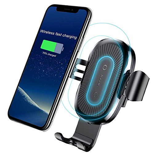 Qi Wireless Car Charger,Baseus Qi Fast Wireless Charger Gravity Car Mount Air Vent Phone Holder for Samsung Galaxy S8 S9 Plus,Note 8,Standard Charge for iPhone X,8/8 Plus,Qi Enabled Devices (Black) by Baseus