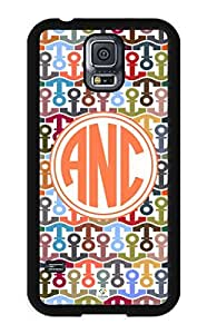 iZERCASE Samsung Galaxy S5 Case Monogram Personalized Colorful Anchors Pattern RUBBER CASE - Fits Samsung Galaxy S5 T-Mobile, Sprint, Verizon and International (Black)