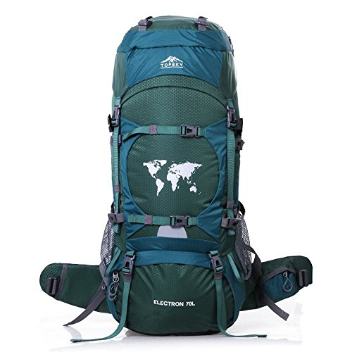 Topsky Outdoor Sports Waterproof Hiking Climbing Camping Mountaineering Internal Frame Backpack 70L Unisex Large Trekking Travel Daypacks with Rain Cover (Can extension to 80L) -