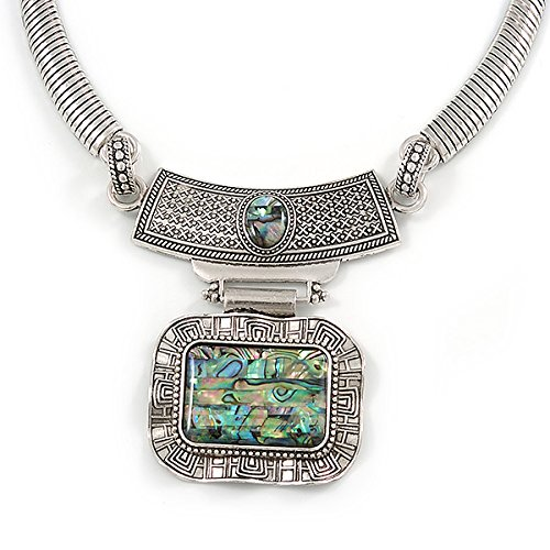 40cm L// 6cm Ext Avalaya Ethnic Hammered Square Pendant Necklace in Silver Tone Metal