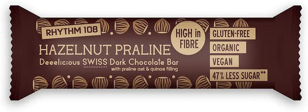 Rhythm 108 Hazelnut Praline Swiss Chocolate Bar 33 g – Pack of 15