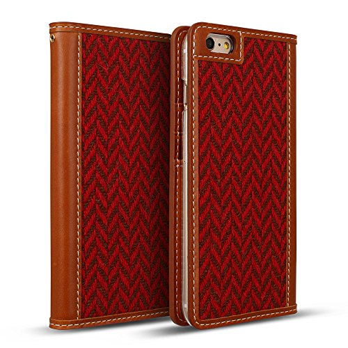 DesignSkin IP6PWBTW4302 iPhone 6S/6 Plus Case (5.5''), Wetherby Handcrafted Genuine Leather Tweed Folio Flip Cover ID Card Slot Banknote Storage Wallet Smartphone Case - Tartan Check by DesignSkin