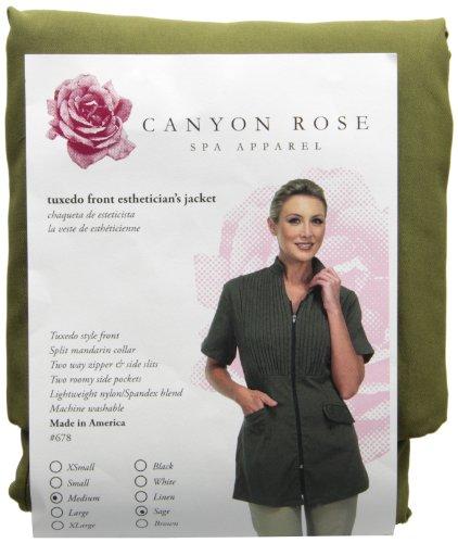 Canyon Rose Tuxedo Front Zip Salon Esthetician Jacket, Sage, M