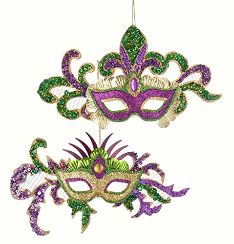 Kurt Adler Sequined Masks Purple and Green Holiday Ornament Set of - Sequined Mask