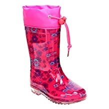 JELLY BEANS GE72 Girl's Floral Print Bungee Tie Clear Sole Low Heel Rain Boots