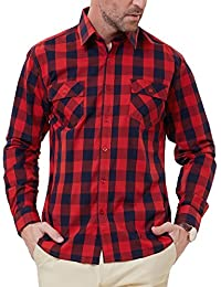 Men's Western Plaid Shirt Button Down Casual Shirt