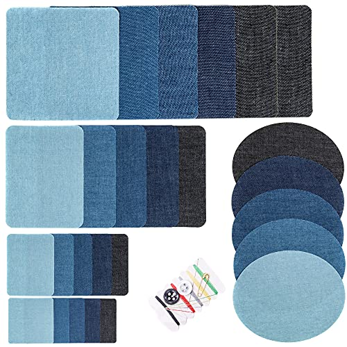Harsgs 26 Pieces Iron On Denim Patches Sewing Repair Patches, Iron on Inside & Outside for Clothing Repair and DIY, Pack of 26 with Sewing Kit