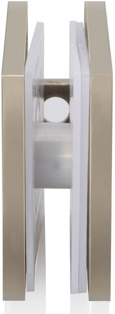 """Brushed Nickel 3//8/"""" Frameless Shower Glass Door U-Clamp Clip Glass to Wall"""