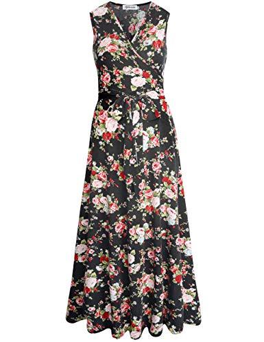 Aphratti Women's Sleeveless Faux Wrap V Neck Floral Vintage Long Maxi Dress Black 14901 ()