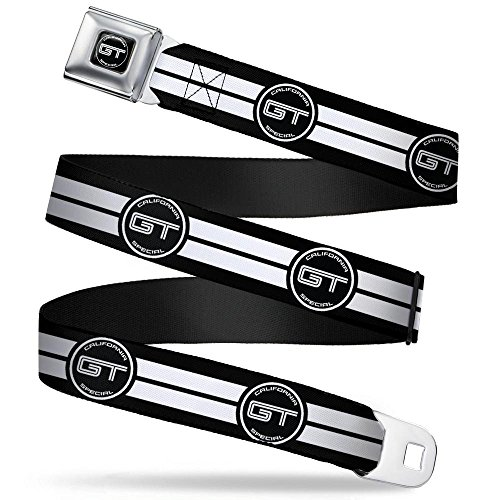 Belt Ford Seat Belt Mustang (Buckle-Down Seatbelt Belt - Ford GT CALIFORNIA SPECIAL Emblem Stripe Black/White - 1.5