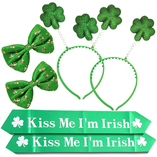 (ST PATRICK'S DAY 6 Pieces Set Party Favors Green Shamrock Bow Tie Irish Clover Boppers Headbands and Kiss Me I'm Irish Sash)