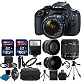 Canon EOS Rebel T5 DSLR CMOS Digital SLR Camera and DIGIC Imaging with EF-S 18-55mm f/3.5-5.6 IS Lens + 58mm 2x Professional Lens +High Definition 58mm Wide Angle Lens + Auto Flash + Tripod + UV Filter Kit With 24GB Complete Deluxe Accessory Bundle
