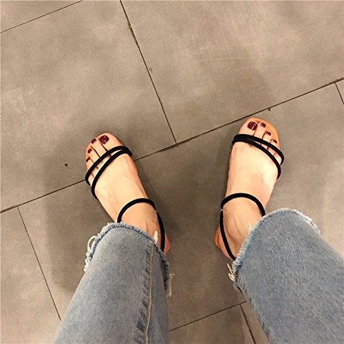 Suela Cuadrada Cabeza Dedo La Sandalias De Plana Y black Terciopelo Nueva Una De Tiene Sole Version La Coreana UqYRUz