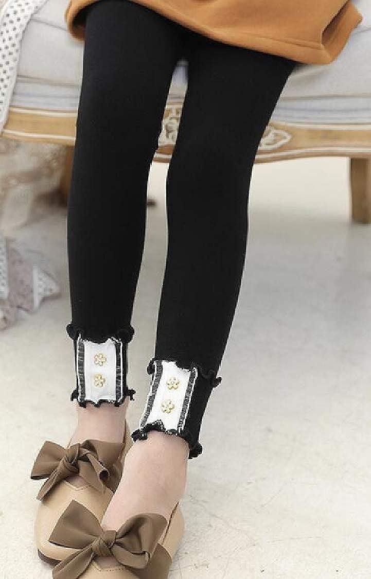 Pandapang Girls Pants Stretch Thin Ruffles Kids Lace Legging