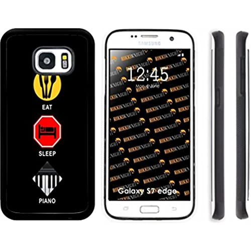 Rikki Knight Eat Sleep Piano Design Samsung Galaxy S7 Edge Case Cover (Black Rubber with front Bumper Protection Sales