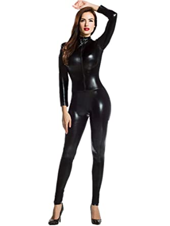 aadacc1dd0 Amour- Catsuit Women Bodysuit Zip up Clubwear Stripper (Regular Size ...