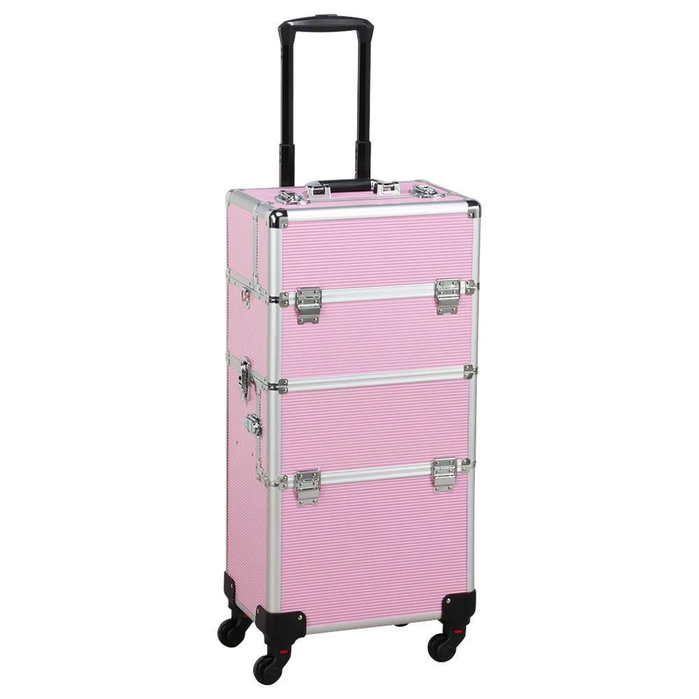 Yaheetech Multicolor Professional 2 in 1 Makeup Beauty Case Cosmetics Technician Case Trolley (Pink) by Yaheetech