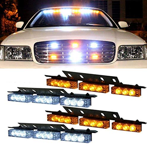(36x LED 3 Flashing Modes Vehicle Windshield Dash Deck Grille Strobe Flash Emergency Warning Strobe Light Bar For Truck, Law Enforcement, Police, Firefighter, EMS, Ambulance -1 pack (Yellow & white))
