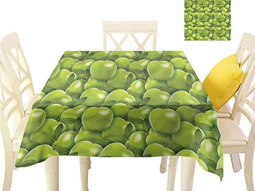 (WilliamsDecor Square Tablecloth Apple,Granny Smith Harvest Outdoor Picnics W 60