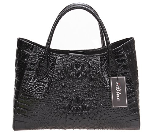 Iblue Embossed Leather Tote Bags Womens Crocodile Top Handle Shoulder Purse 15 in #W198 (L, - Bag Hobo Leather Embossed