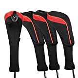 Andux 4 Pack Long Neck Golf Hybrid Club Head Covers Interchangeable No. Tag CTMT-01 (Red)