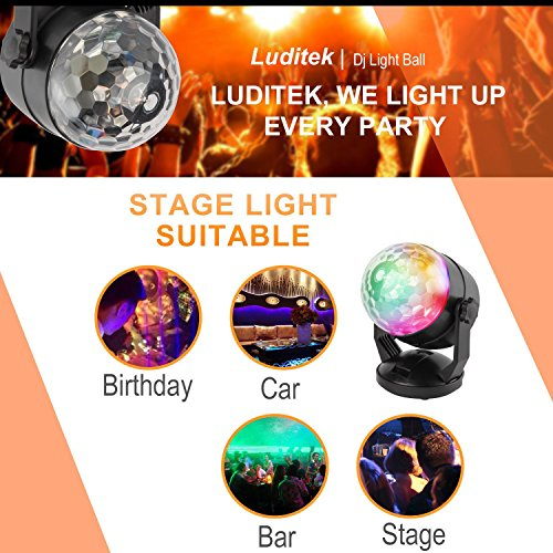 Portable Sound Activated Party Lights for Outdoor and Indoor, Battery Powered/USB Plug in, Dj Lighting, RBG Disco Ball, Strobe Lamp Stage Par Light for Car Room Dance Parties Birthday DJ Bar Club Pub by Luditek (Image #5)