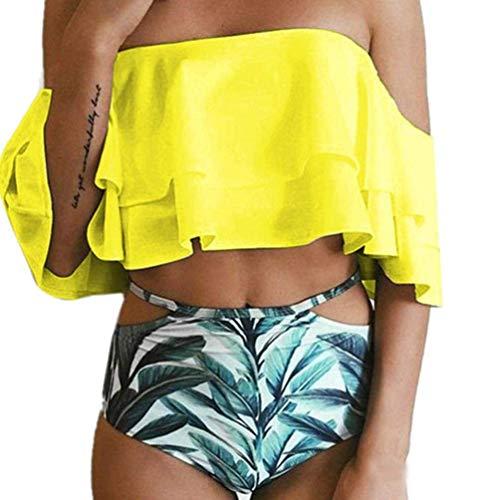 Taille up Zhrui de Swimwear Rembourré Maillot couleur Push Bain L Jaune Femme YqvB4SF