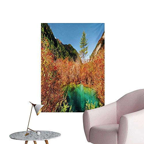 Anzhutwelve Nature Wallpaper Idyllic Fall Landscape with a Creek Among The Forest in National Park Valley ArtGreen Amber W24 xL32 Wall Poster