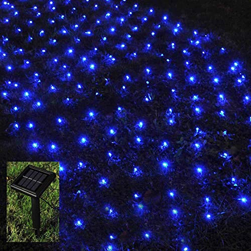Solar Net Lights Outdoor Mesh Lights,4.9ft x 4.9ft,100 LEDs Tree-Wrap Christmas Lights Holiday Fairy String Lights for Garden Bushes Wedding Path Backyard Tent Camping Decoration-Dark Green Cable,Blue