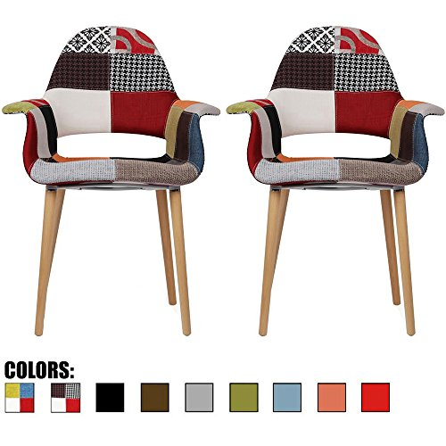 2xhome Set of 2, Patchwork Patterned Mid Century Modern Upholstered Fabric Organic Accent Living Room Dining Chair Armchair Set with Back Armrest Natural Wood Wooden Legs for Kitchen Bedroom Sam