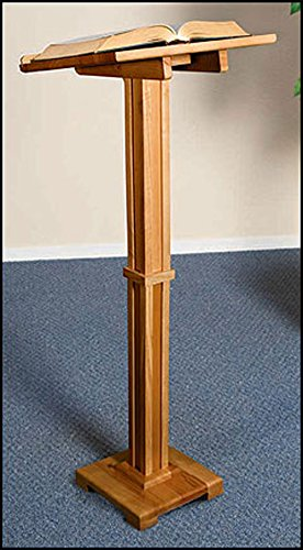 Standing Lectern Handcrafted Solid Wood, Pecan Stain Now with a Larger Base! (Pecan Solid)