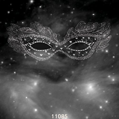 WOLADA 10X10FT Mardi Gras Black Mask Masquerade Carnival Black Feathers Customized Birthday Photo Backdrop Photography Background 11085 -