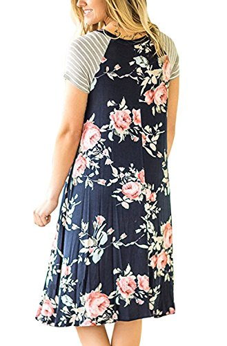NuoReel Women's Floral Print Casual Short Sleeve A-line Loose T-Shirt Dresses Knee Length Medium Size Black