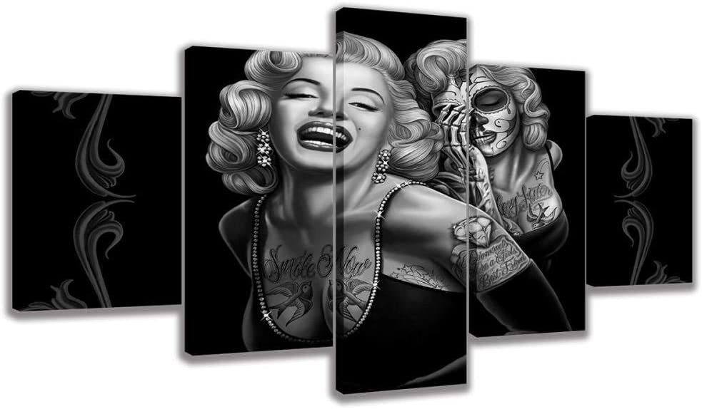 LANFEINA Modular Canvas Home Decor Pictures Wall Art Poster 5 Panel Marilyn Monroe Smile Now Painting Living Room HD Prints