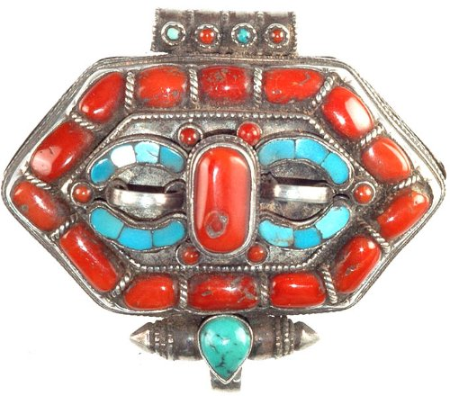(Tibetan Gau Box Pendant with Coral and Turquoise - Sterling Silver)
