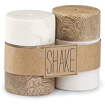 Amazon Com Mud Pie Marble Amp Mango Wood Salt Amp Pepper