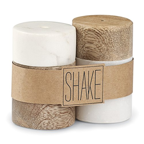Mud Pie Marble & Mango Wood Salt & Pepper Shaker Set, White
