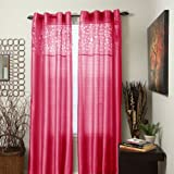 Bedford Home Karla Laser-Cut Grommet Single Curtain Panel, 95-Inch, Fuchsia