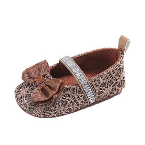 Zapatos de bebé Auxma El niño antideslizante del deslizador de los zapatos antideslizantes del Bowknot de la niña por 3-12 meses marrón