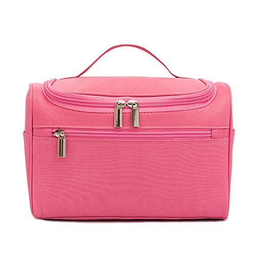 Hanging Travel Toiletry Bag for Men and Women - Decdeal Waterproof Cosmetic Bags - Perfect Travel Cosmetic Organizer (Pink)